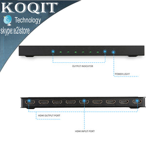 4K*2k 1x8 HDMI 8 Port HDMI Video Splitter Audio Amplifier Repeater 3D 1080p 1 In to 8 Out 1x8 HDMI 8 Port Splitter