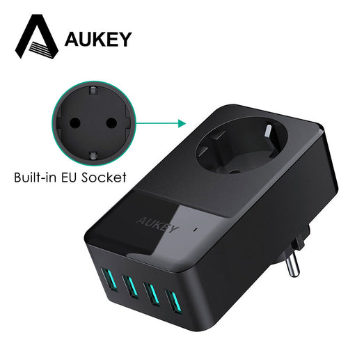 AUKEY Mobile Phone Charger 4 Port Smart Wall Charger USB Portable Travel Charge With Built-in EU Socket for Xiaomi iPhone Huawei