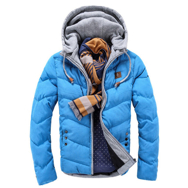 2017 Winter Fashion Casual Jacket Men Thicken Warm Candy Color Splicing Cotton Padded Puffer Coats Parkas Hooded