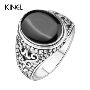 The Black Friday jewelry Sold On The Cheap Silver Color Ring Vintage Look Enamel Punk Rock Rings For Men