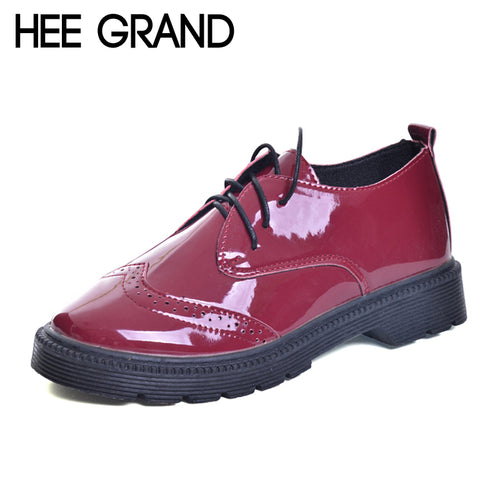 HEE GRAND Brogue Shoes Woman Lace-up Platform Oxfords British Style Creepers Cut-Outs Flat Casual Women Shoes XWD6004