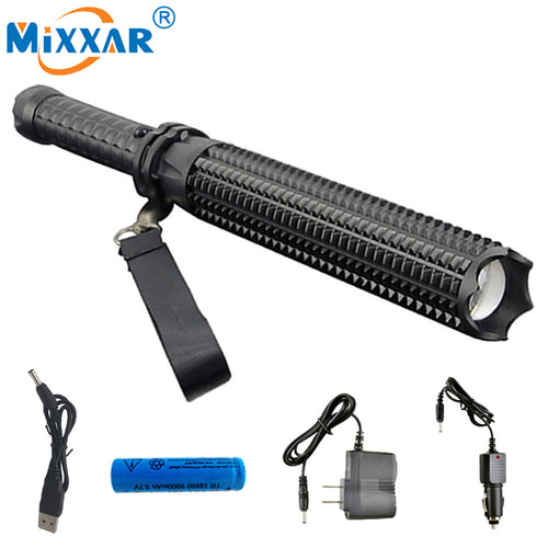 RU Self-defense Led CREE XM-L2 Toothed Mace 4500LM lanterna powerful telescoping flashlight tactical torch 18650 or 3xAAA