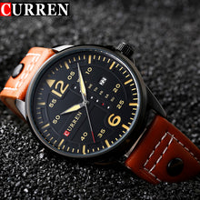CURREN Fashion Brand Leather Strap Casual Men Sports Watch Quartz Military Wrist Watch Male Clock New Auto Date Week