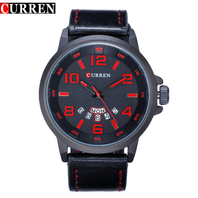 Luxury Brand Quartz Watch Men Leather Strap Date Clock Fashion Casual Military Men WristWatch Relojes Hombre Montre 2017
