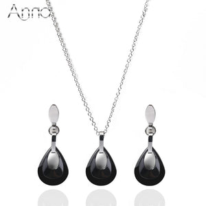 A&N Silver Water drop Ceramic Jewelry Sets For Women Black&White Ceramic Hollow Drop Luxury Stainless Steel Wedding Jewelry Sets