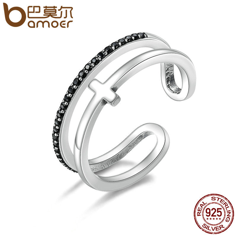 BAMOER Vintage 100% 925 Sterling Silver Light Of Cross Double Layer Open Finger Rings for Women Sterling Silver Jewelry SCR134