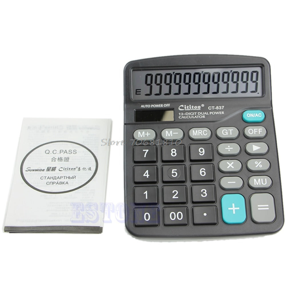Large Buttons Dual Power Solar & Battery Powered Desktop Desk Digit Calculator #R179T#Drop Shipping
