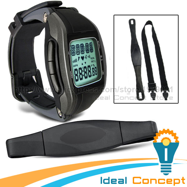 Multi Function Pulse Watch With Calendar Heart Rate Monitor Chest Belt 7 Days Memory Calorie Calculator