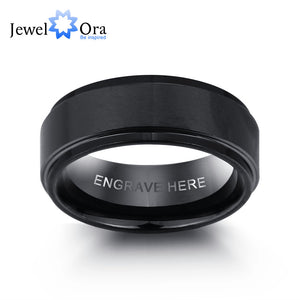 Personalized Engrave Tungsten Steel Ring Fashion Jewelry Black Men Rings For Party Gift for Husbands(JewelOra RI101913)