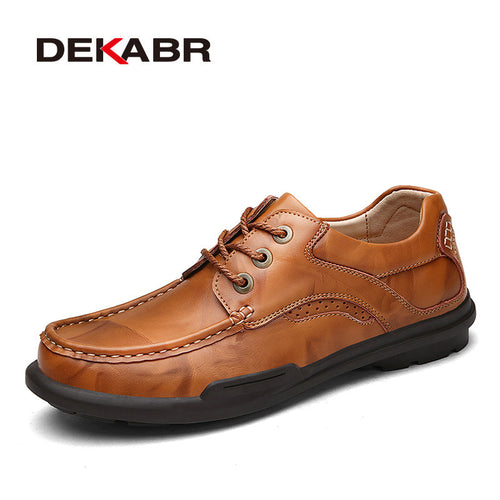 DEKABR Men Genuine Leather Shoes High Quality Lace Up Men Oxfords New Fashion 2017 Mens Leather Shoes Simple Style Casual Shoes