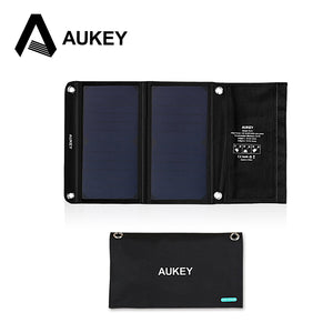 AUKEY 14W  Portable Foldable Solar Charger with 2 USB Ports and High Efficiency SunPower Solar Panels for Apple iPhone,Android