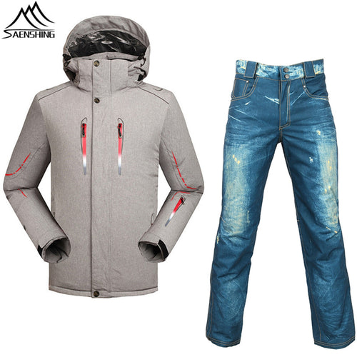 40b852e4d0d Professional skiing suits winter thicken thermal ski jacket+ski pants -30  degrees season breathable