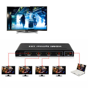 4 Port HDMI Splitter 1 in 4 out Audio Video v1.3b 1080p 1x4 4k HDMI Splitter Amplifier For HD TV PS3 3D