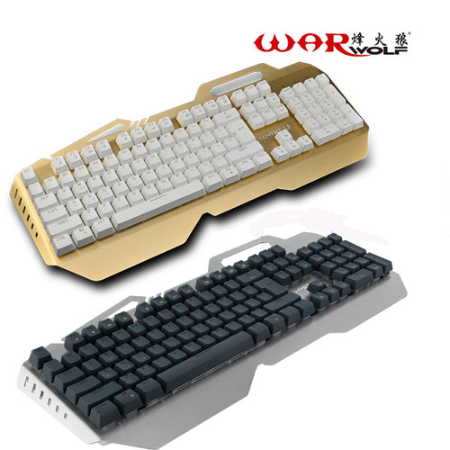 Warwolf Wired Mechanical Keyboard Rainbow Backlit 104 Keys Gaming Keyboard For Computer Games Mechanical Feel With 7 Colorful