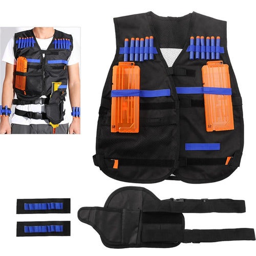 NUOLUX Tactical Vest Kit for Nerf Guns N-strike Elite Series + 20pcs Hollow Bullets + 2pcs Bullet Case + 1pcs Gun Holder + 2pcs Bullet Wristbands