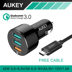 AUKEY Quick Charge Fast Car-Charger 3.0 + USB Cable 3 Ports Mini USB Car Charger Adapter For Samsung Galaxy 8 For Xiaomi Mi 5 4x
