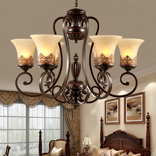 Retro 5/6/8 arms retro chandelier lighting,glass lampshade wrought iron chandelier living/dining room/bedroom hanging chandelier