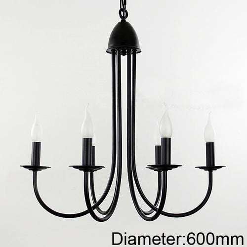 For foyer dinning room living room 6 arms candle light lamp style Modern chandelier with black color