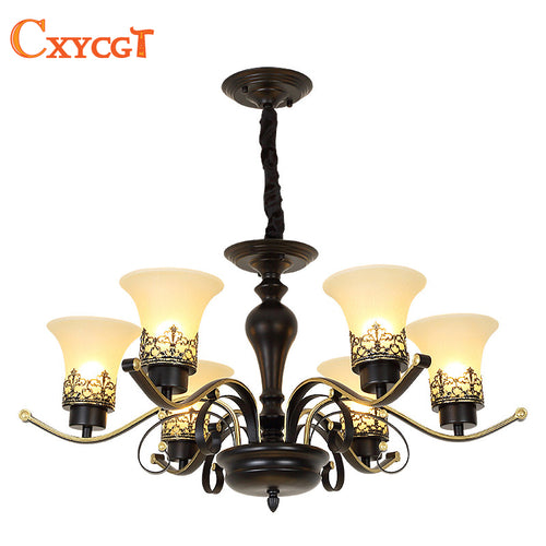 American Rural Vintage Chandelier Lighting Lamp for Living Room Bedroom Dining Room Retro Pendant Lamp Mat Glass Lampshade
