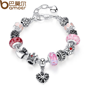 BAMOER Silver Strand Bracelet Red European Glass Beads Bracelet for Women with Heart Purse Crown Female Bracelet Jewelry PA1874