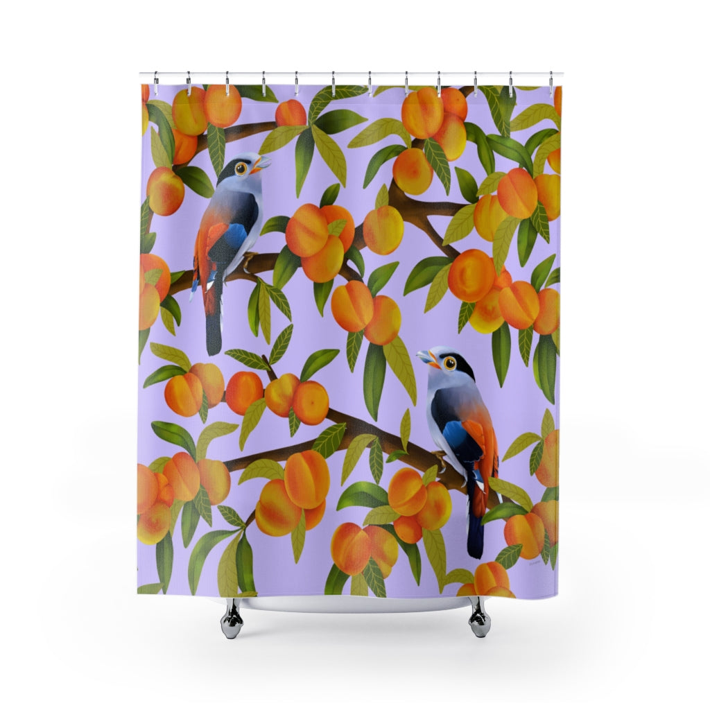 Purple Peach Tree Shower Curtains