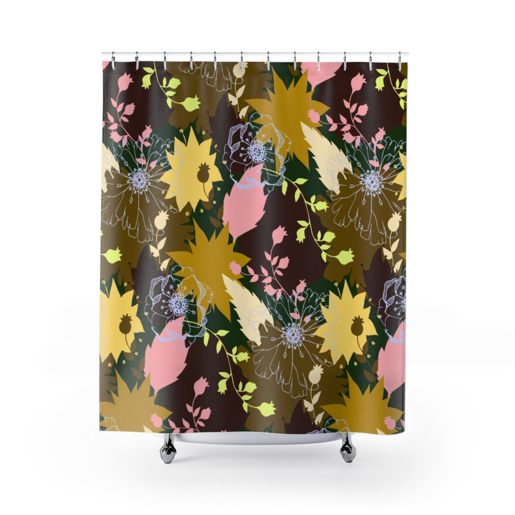 Big Abstract Flowers Shower Curtains