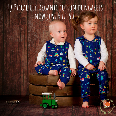 babies wearing organic cotton farmyard theme dungarees from Piccalilly - Cotswold Baby Co