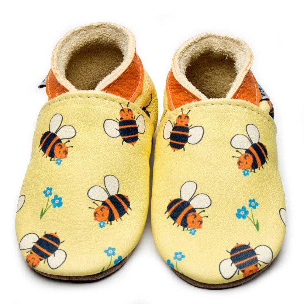 Bee Happy Lemon Leather Shoes by Inch Blue