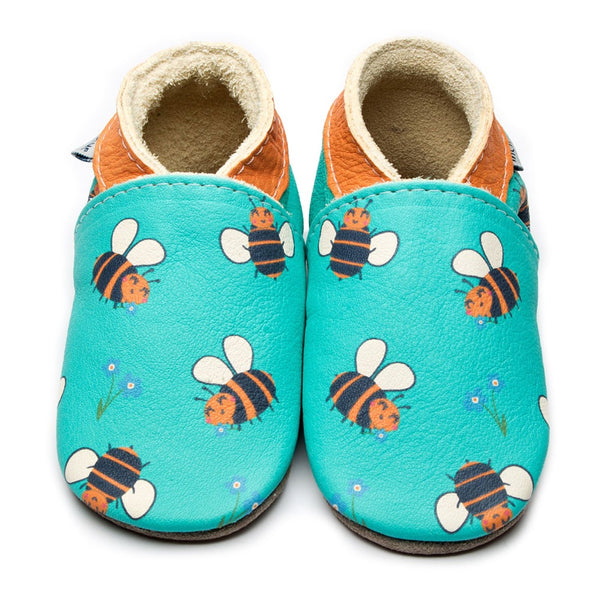 Bee Happy Turquoise Leather Shoes by Inch Blue