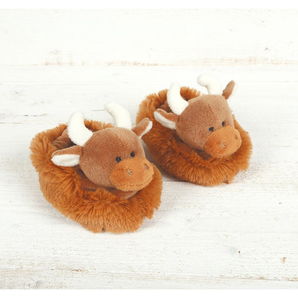 Highland Cow Baby Slippers by Jomanda | Cotswold Baby Co