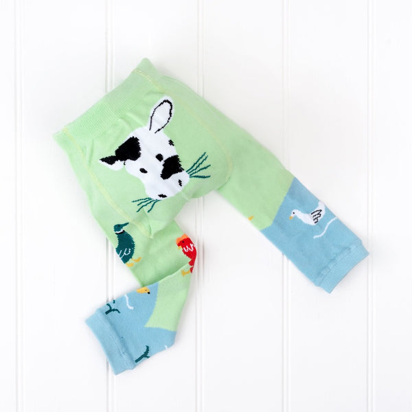 down at the farm baby leggings with cow on the bum by Powell Craft | Cotswold Baby Co