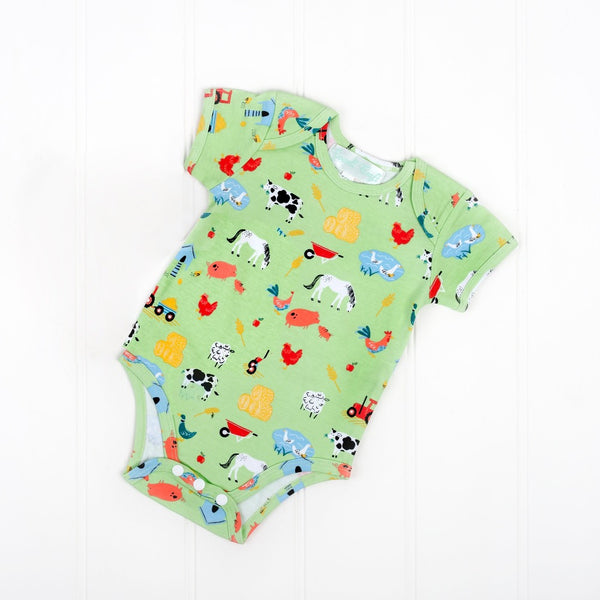 down at the farm baby bodysuit by Powell Craft