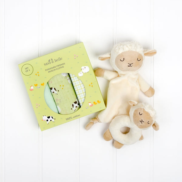 Farmyard Friends set of Muslins, White sheep baby comforter and baby sheep rattle | Cotswold Baby Co