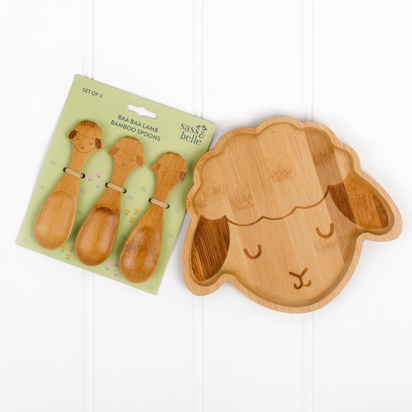 bamboo sheep plate and set of three bamboo spoons | Cotswold Baby Co