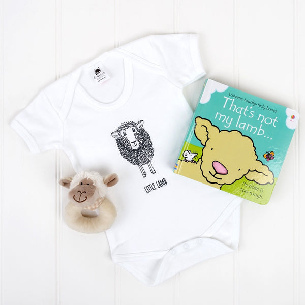 little lamb bodysuit, baby sheep rattle and that's not my lamb book | Cotswold Baby Co