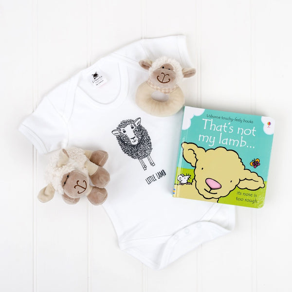 little lamb white bodysuit, that's not my lamb book, lamb baby rattle and little lamb white cuddly toy | Cotswold baby Co