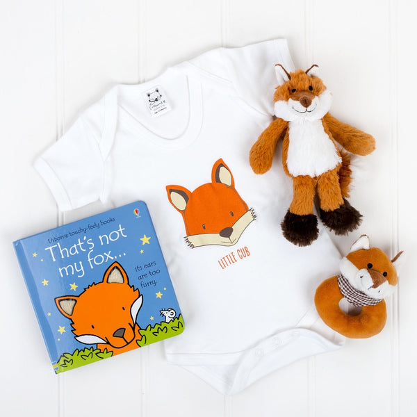 that's not my fox book, little cub fox bodysuit, little fox soft toy, fox baby rattle | Cotswold Baby Co