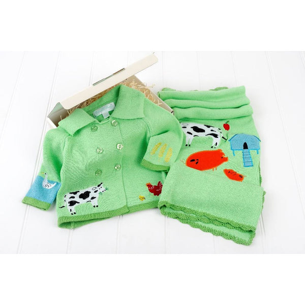 at the farm green baby pram coat and matching baby blanket, gift box by cotswold baby co