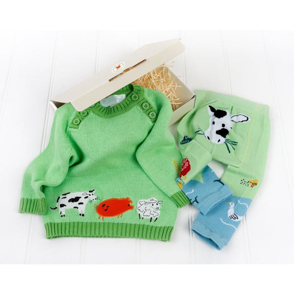 green farm kids jumper and cow leggings by powell craft in white gift box by cotswold baby co