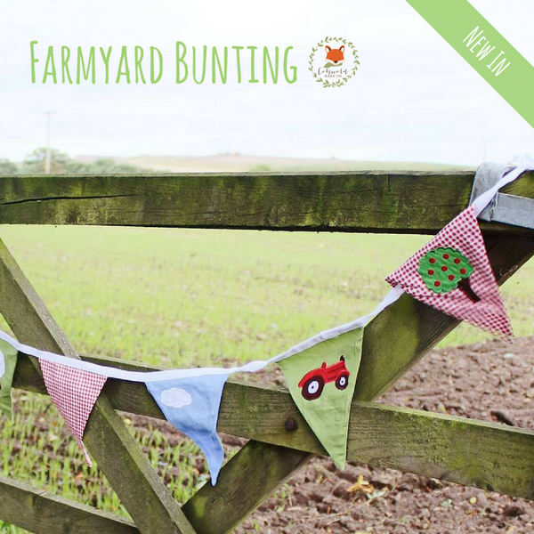 Picture of farmyard bunting on gate - Cotswold Baby Co