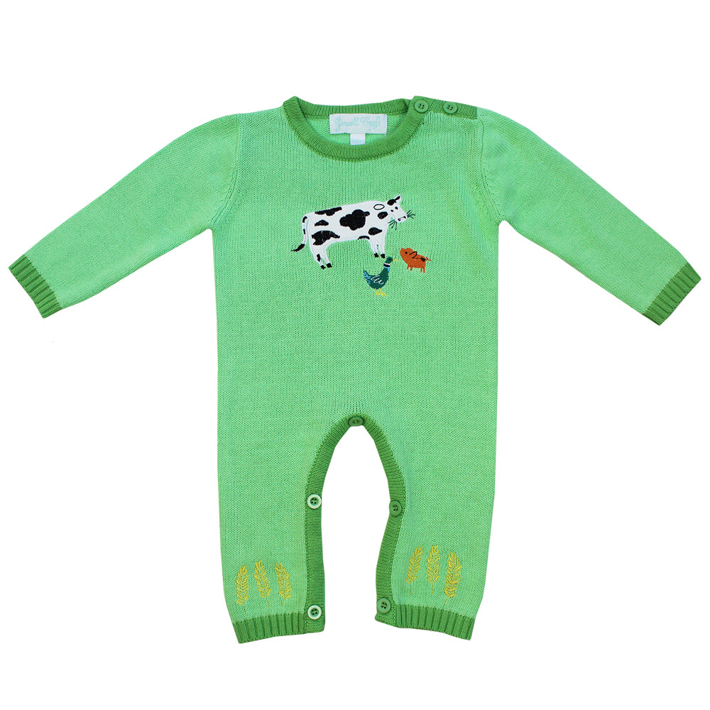 Farmyard Friends Knitted Playsuit by Powell Craft | Cotswold Baby Co