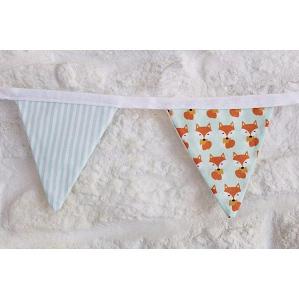 Fox & mint stripe bunting - Cotswold Baby Co.