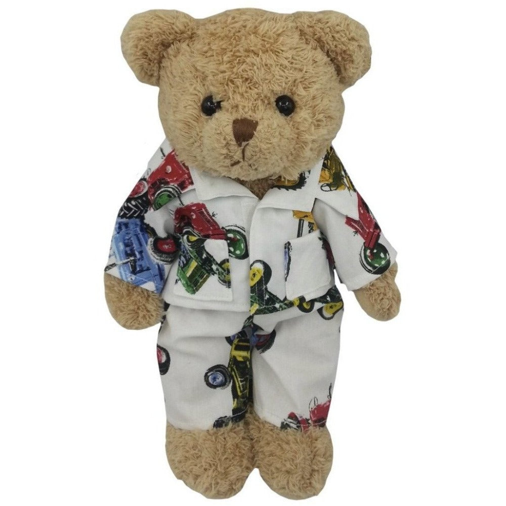 Tractor Bear wearing tractor print pyjamas - Cotswold Baby Co