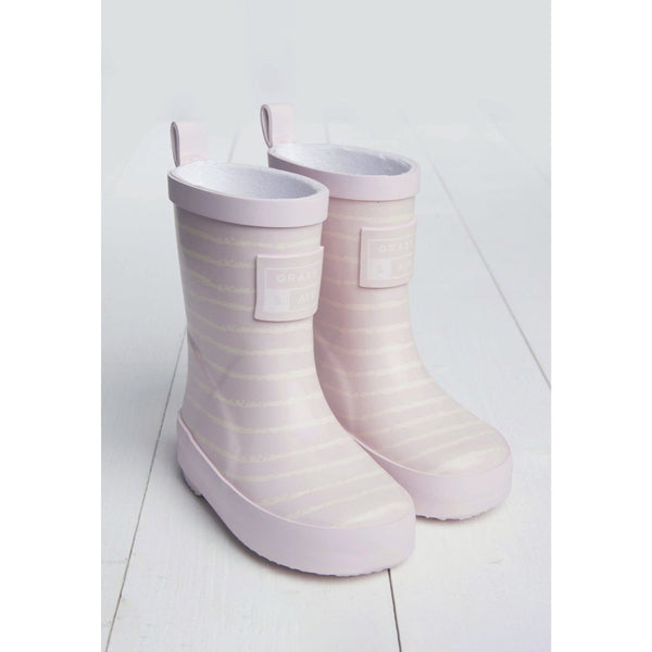 Baby Pink Breton Stripe Kids Wellies | Grass and Air