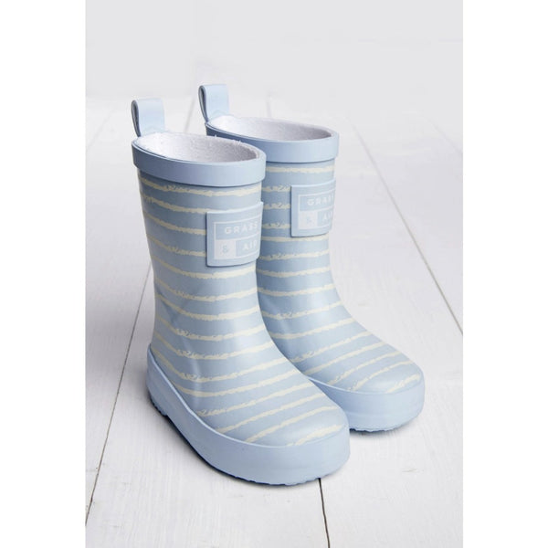 Baby Blue Breton Stripe Kids Wellies | Grass and Air