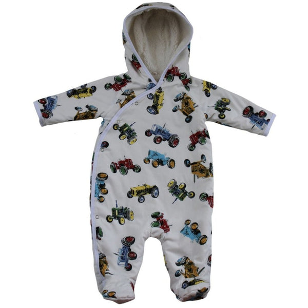 fleece lined vintage tractor snuggle-suit - Powell craft - cotswold baby co
