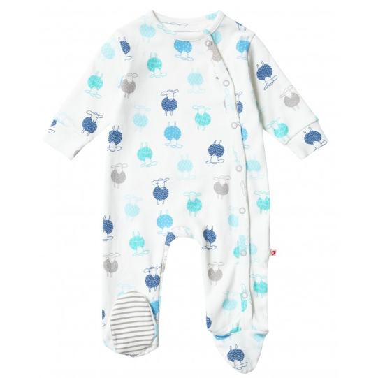 Piccalilly organic cotton sheep wrapover sleepsuit for babt