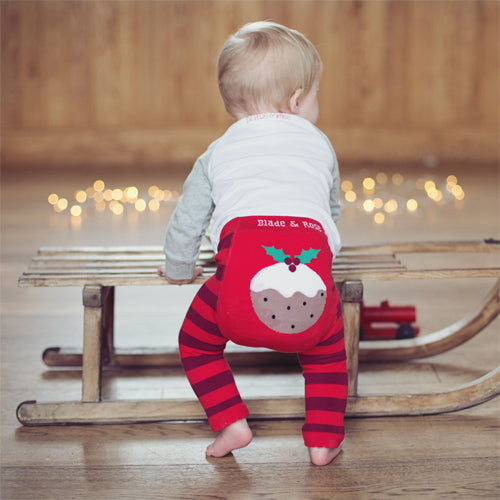 Baby wearing Christmas Pudding leggings by Blade and Rose - Cotswold Baby Co.
