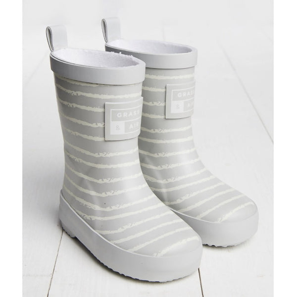 Grey Breton Stripe Kids Wellies | Grass and Air | Cotswold Baby Co