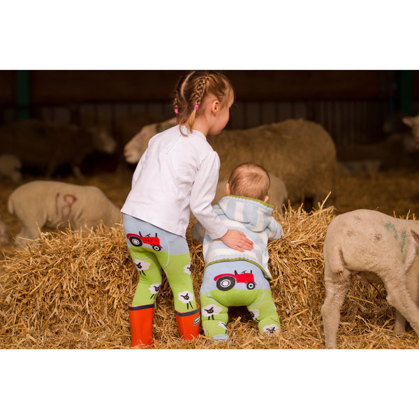 Girls wearing sheep leggings - Cotswold Baby Co